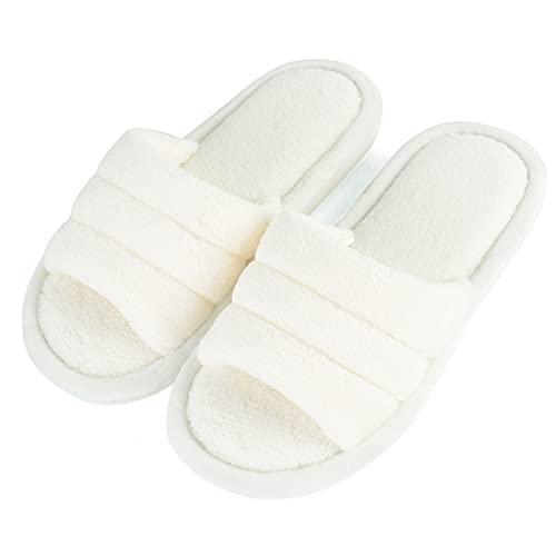 OEAK Zapatillas de estar por casa para mujer, de felpa, con puntera abierta, cálidas, antideslizantes, para invierno y para interior y exterior, Blanco, 41/42 EU