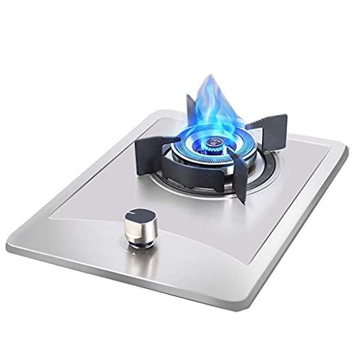 Estufa de gas, estufa de gas de acero inoxidable, encimera portátil para cocinar, sobremesa / cocina empotrada individual, con protección contra llamas, fácil de limpiar, compatible con todos los uten