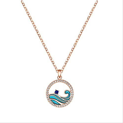 RGSRC Collar Wave Collar con Colgante De Ola Oceánica De Plata Esterlina, Collar De Surfista Collares De Playa