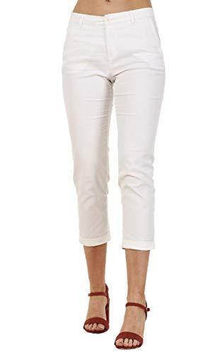 Ex High Street Pantaloni Capri Donna - Elasticizzati - Bianco - EU 34