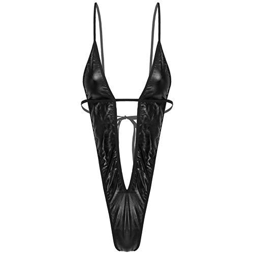 iixpin Damen Monokini Slingshot Micro Mini Bikini Einteiler Erotik-Body Badeanzug Thong Teddy G-String Schwarz_PU Leder XL