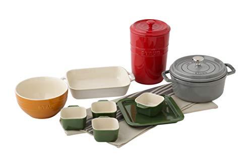 【Amazon.co.jp限定】ストウブ ビギナー6点セット ココットラウンド18cm グレー 保存容器 食器3点 キッチンタオル
