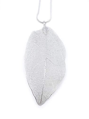 onweerstaanbaar1 Mooie handgemaakte zilveren ketting met zeer gedetailleerd natuurblad 8 cm lang met 60 cm zilveren ketting in zilver
