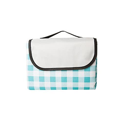 manta de picnic,Estera de picnic de celosía de tela Oxford engrosada, conveniente alfombra de camping a prueba de humedad para exteriores, celosía azul grande