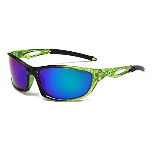 Long Keeper Occhiali da Sole Sportivi da Uomo DonnaPolarizzatiUV400 Protezione Occhiali Ciclismo Bici MTB Corsa Running (Verde Nera)