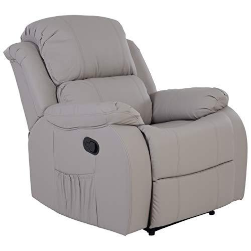 RABURG Fernsehsessel HANNE mit elektrischer Massage - Schlafsessel XXL mit mechanischer Liege- & Relaxfunktion Easy-Lift, aus Soft-Touch-Kunstleder in SEIDENGRAU + leichte Wärme-Funktion