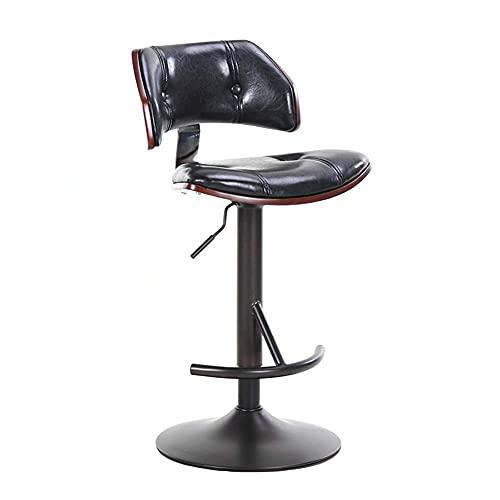 QLIGAH - Taburete de bar giratorio para barra de estilo europeo con mesa de madera y silla de bar giratoria, barra simple con respaldo