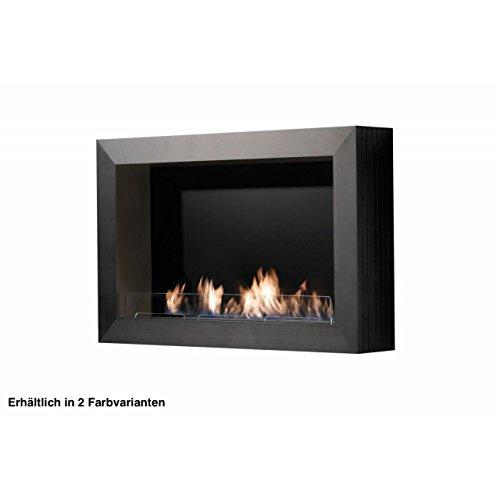 Rubyfires - Caminetto da parete a bioetanolo, in alluminio, colore: Nero/Argento Nero