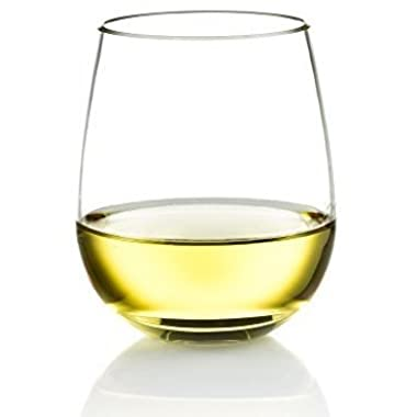 Poolside Unbreakable Stemless Plastic Wine Glasses ~ Elegant Durable Reusable Glassware ~ Sophisticated Design ~ Shatterproof Dishwasher Safe Indoor / Outdoor Barware ~ 100% Tritan ~ Set of 4 ~ 16 oz