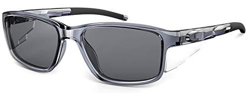 CAXMAN Polarized Sunglasses for Men w/ Side Shields Rectangular Sports Sunglasses for Fishing Driving Clear Grey Frame Black Lens
