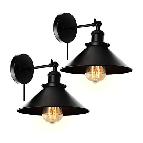 GYAM Aplique Moderno de Iluminación Pared Juego de 2, Lámparas de Pared Rústicas de Metal Industrial, Decoración de Lámpara de Pared de Dormitorio para Sala de Estar, Baño y Pasillo,Switch Line