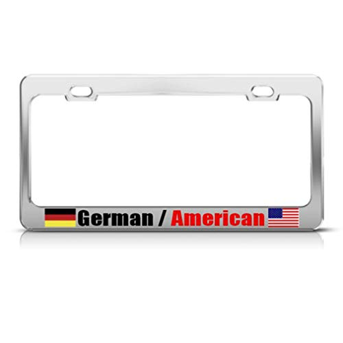 Speedy Pros Metal License Plate Frame Germany German American Country Car Accessories Chrome 2 Holes