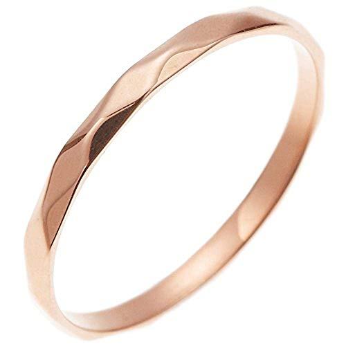 [アライブ]ピンキーリング 指輪 ステンレス 金属アレルギー対応 傷つきにくい シンプル ダイヤカットリング 細め オシャレ 華奢 モード エッジ リング レディースピンクゴールド15号
