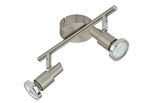 Briloner Leuchten LED Deckenleuchte, 2 dreh- & schwenkbare LED-Spot-Lights, Decken-Lampe, Metall, Strahler inkl. Leuchtmittel à 3 W, Länge: 27.5 cm