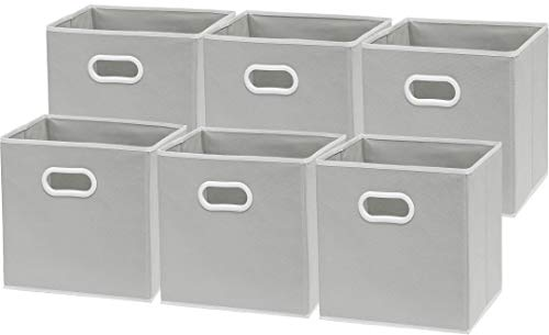 6 Pack - SimpleHouseware Foldable Cube Storage Bin with Handle, Grey