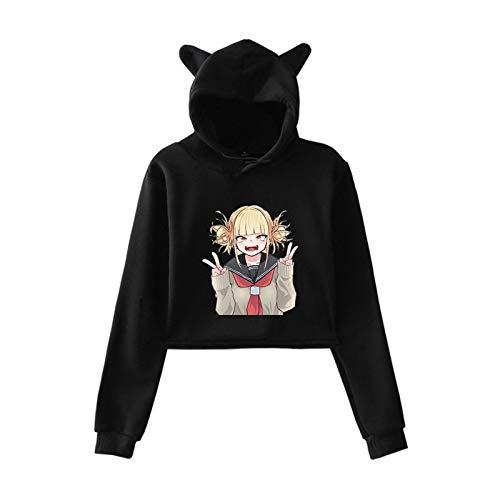My Hero Academia Hoodies Himiko Toga Print Manga Larga Cat Ear Hooded Pullover Crop Top para Mujeres niñas