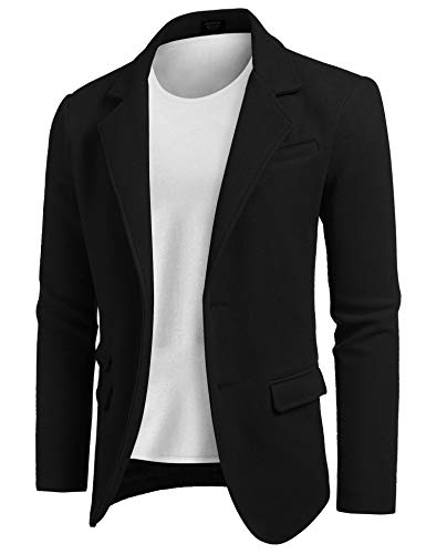 COOFANDY Men's Slim Fit Wool Blazer Jacket Two Button Casual Suit Sport Coat Black