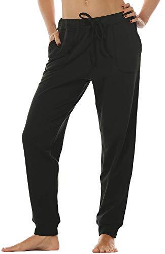 icyzone Damen Hose Jogginghose Lang Sweathose - Sporthose Trainingshose Running Gym Pants (S, Black)