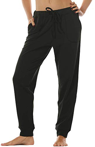 icyzone Damen Hose Jogginghose Lang Sweathose - Sporthose Trainingshose Running Gym Pants (L, Black)
