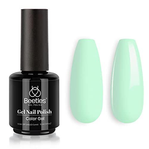 Beetles Gel Polish, 15ml Lagoon Green Color Gel Polish Soak Off LED Nail Lamp Gel Polish Nail Art DIY Home Manicure Salon Gel 0.5OZ