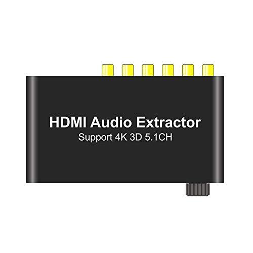 SOUTHSKY 4K/3D HDMI zu HDMI, Audio Decoder, 6 RCA Kanal Cinch, 3,5 mm Aux Analog Stereo Konverter, Audio Extraktor Adapter, Lautstärkeeinstellbare, Unterstützung Dolby, AC3, DTS