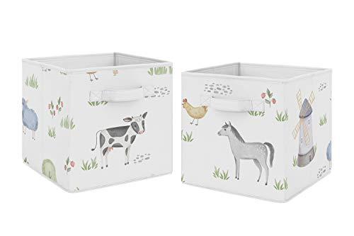 Sweet Jojo Designs Farm Animals Foldable Fabric Storage Cube Bins Boxes Organizer Toys Kids Baby Childrens - Set of 2 - Watercolor Farmhouse Horse Cow Sheep Pig