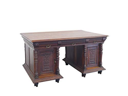 Antiker Partner-Schreibtisch aus massiver Eiche | Schreibtisch Partnerdesk Schreibmöbel | Gründerzeit um 1880 | B: 150 cm (9806)