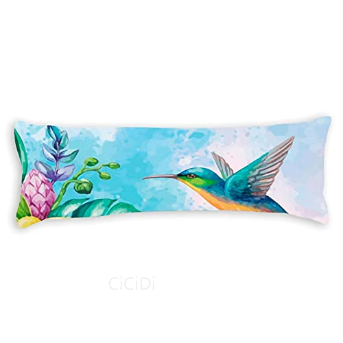 CiCiDi Side Sleeper Pillow Cover 40x145 cm Bird Breathable Cushion Covers with Zip Cotton and Polyester