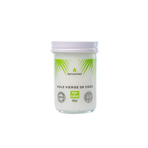 Huile de Coco Bio Ratchaprao – Vierge, 100% Crue, Pressée à Froid - Naturelle, Non Raffinée - Produit Vegan - Huile Soin Cosmétique Cheveux, Visage, Corps, Bébé - Cuisine Diététique - 250 ml