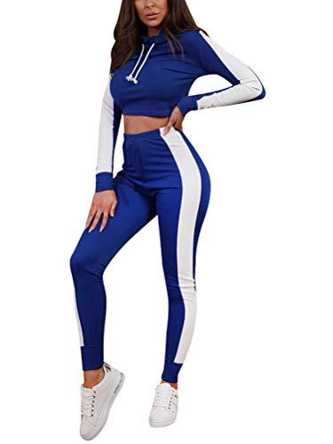 Minetom Femmes Jogging Yoga Gym Survêtement Manches Longues Rayure Crop Top Sweat-Shirt à Manches et Pantalon Ensemble de Sportwear Vêtement de Sport 2pcs Bleu FR 38