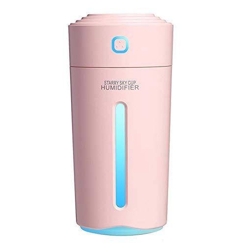 280ML Luftbefeuchter Mit Batterie USB Ultraschall-Aromadiffusor Tragbarer Autonebelmacher Befeuchtung Mit 7-Farben-Umgebungslicht, FüR Das Home Office,Rosa