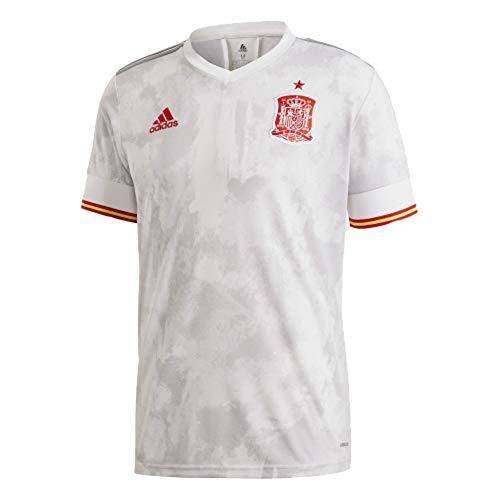 adidas Mens Spain Away Soccer Jersey 2020 (Medium) White/Light Grey