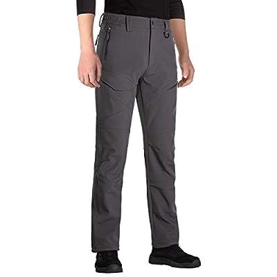 FREE SOLDIER Men's Outdoor Softshell Fleece Lined Snow Pants Men Waterproof Winter Hiking Pants(Dark Gray 34W/32L)