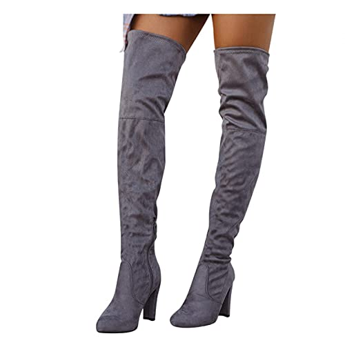 Binggong Langschaftstiefel Damen High heels Stiefel mit Blockabsatz Spitze Stretch Boots Pumps Frühlings Winter Overknee Stiefel Bequeme Schuhe Outdoor Stiefel Reißverschluss Winterstiefel