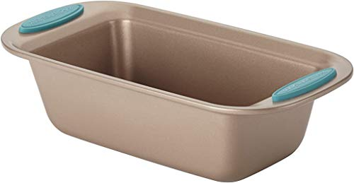 Rachael Ray Cucina Bakeware Oven Lovin' Nonstick Loaf Pan, 9-Inch by 5-Inch Steel Pan, Latte Brown with Agave Blue Handles