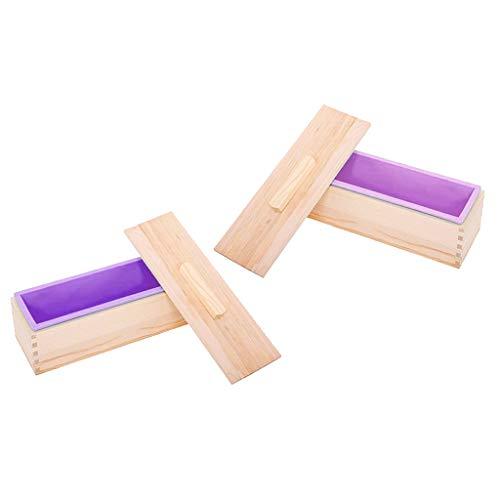 SDENSHI Molde de Silicona para Jabón de 2 Piezas con Tapa de Madera Herramienta de Bricolaje para Hacer Pasteles de Jabón 1200g