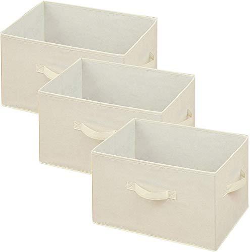 [山善] どこでも収納ボックス(3個セット) アイボリー YTCF3P(IV)の写真