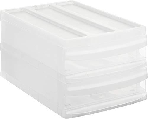 Rotho Systemix Schubladenbox mit 2 Schüben, Kunststoff (PP) BPA-frei, transparent, M Duo (39,5 x 25,5 x 20,3 cm)