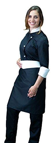 tessile astorino Bordado gratuito – Conjunto de cocinero de cocina – negro y crema – uniforme de chef mujer – Pantalón, chaqueta y delantal – Fabricado en Italia Negro y crema, Mujer XS