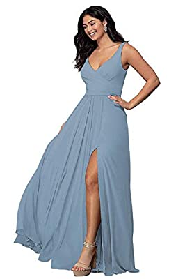 Rjer Bridesmaid Dresses for Wedding Dusty Blue V Neck Long Slit A Line Prom Dress Sleeveless Formal Gowns Size 8