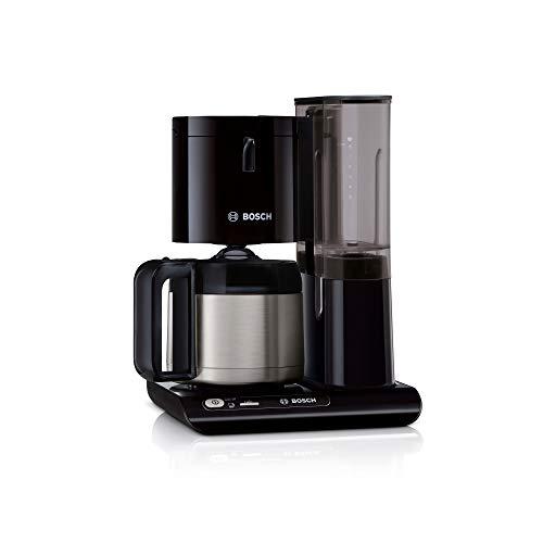 Bosch TKA8A053 Styline - Cafetera de filtro, jarra térmica, ajuste automático, tiempo de preparación, depósito de agua extraíble (1 L), 1100 W, color negro