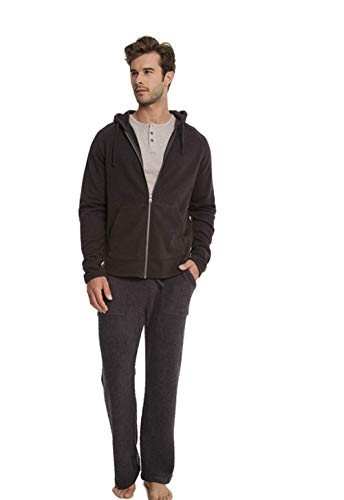 Barefoot Dreams Malibu Collection Men's Sherpa Zip Hoodie - Carbon, Small