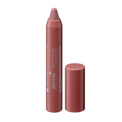alverde NATURKOSMETIK Lippenstift Matt Lipstick Tender Taupe 80, 1 x 3,7 ml