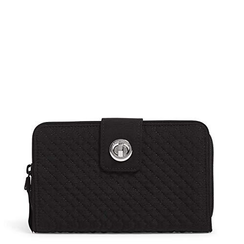Vera Bradley Women's Microfiber Turnlock Wallet with RFID Protection, True Black, One Size