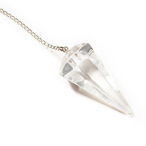 Péndulo de radiestesia con cono de caras, de cristal de roca, con bolsita de antelina