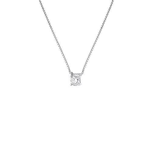& You - Collana Diamante Solitario 0,15 Carati - 4 Punti - Catenina Veneziana 42 cm - Disponibile in Oro Giallo e Oro Bianco - Gioiello da Donna