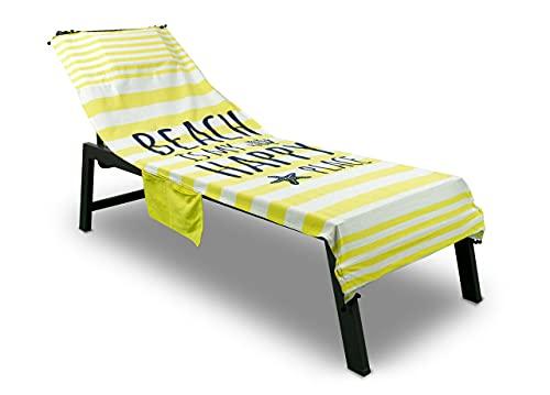 Toalla de playa para cuna Happy Place (amarillo)