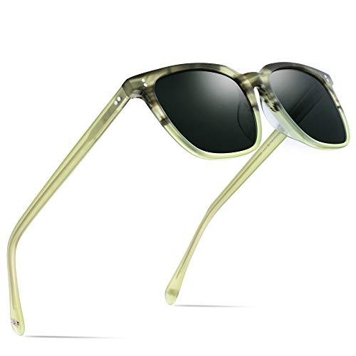 HEPIDEM Acetate Polarized Sunglasses Square Sun Glasses for Men 9114 (Green)