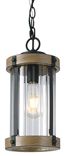 Untrammelife Outdoor Pendant Light, Adjustable Height Metal Exterior Hanging Lantern in Dark Wood Texture Finish with Clear Ribbed Glass, 1-Light Outdoor Hanging Light Fixture for Porch Garden