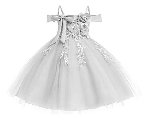DEMU baby meisjesjurk doopjurk feestelijke jurk bruiloft partyjurk feestjurk 140 grijs